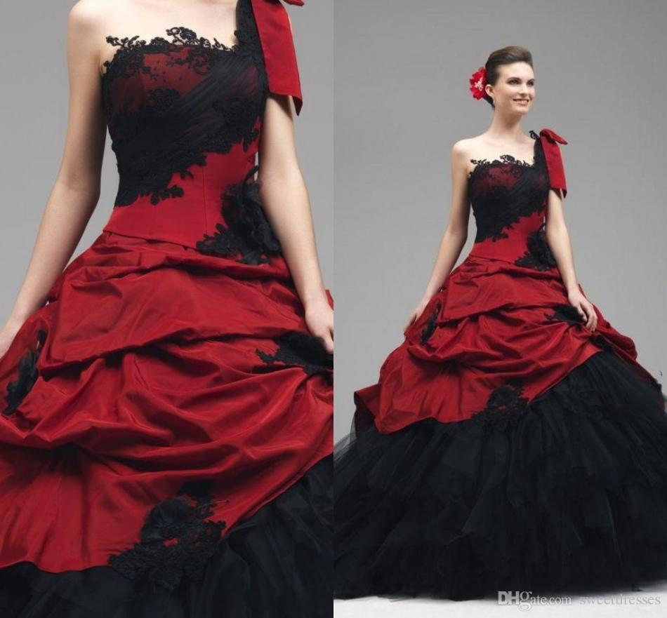2016-red-black-wedding-gowns-lace-appliques