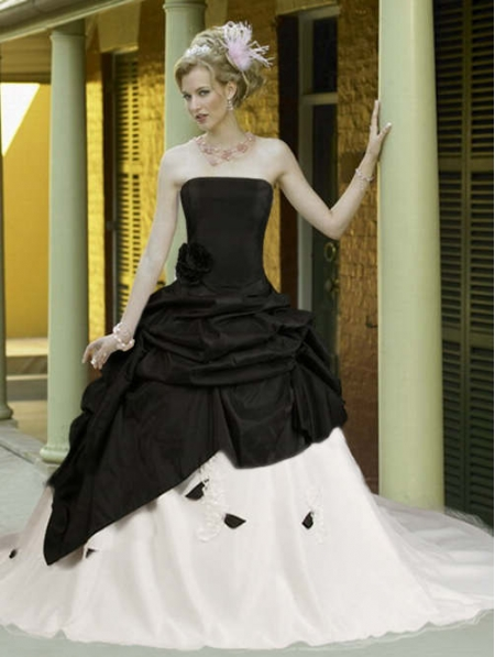 black-and-white-taffeta-simple-elegant-gothic-wedding-dress