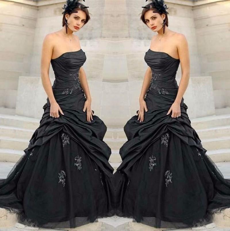 Sexy-Black-Gothic-font-b-Wedding-b-font-font-b-Dresses-b-font-font-b-Strapless